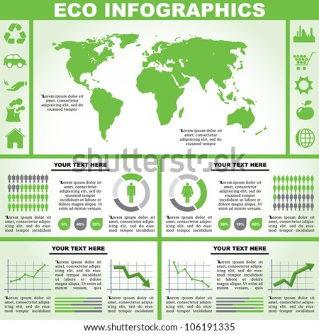 Vector illustration of an eco infograph. - stock vector