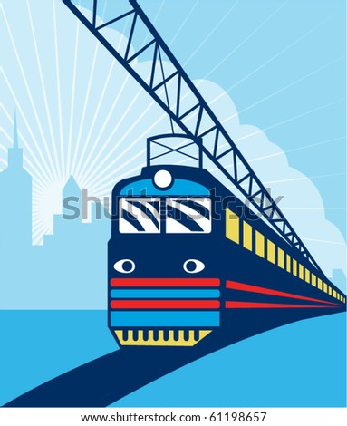 vector illustration of an Electric passenger train traveling towards you with urban city skyline in the background done in retro style. - stock vector