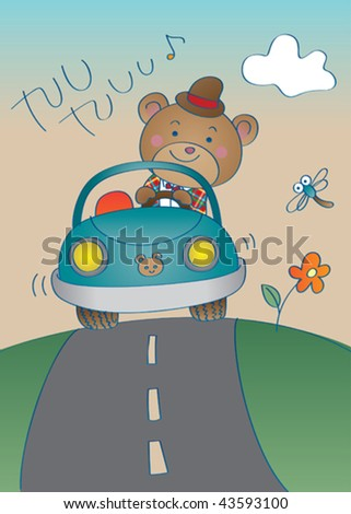 Vector illustration of an elegant bear, going for a ride in his little car in his Sunday clothes. - stock vector