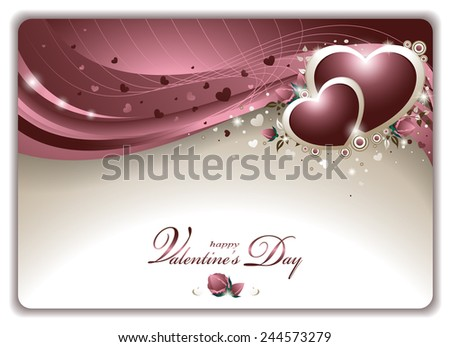 Vector Illustration of an Elegant Romantic Valentine's Card with Hearts and Roses  - stock vector