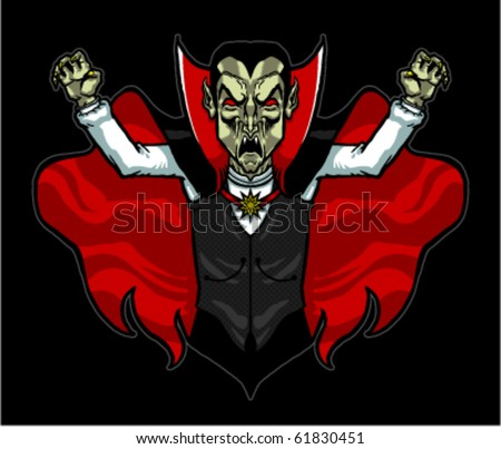 Vector illustration of an evil fanged vampire baring his fangs for blood