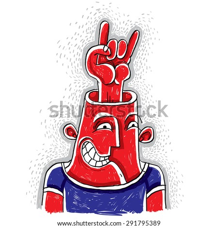 Vector illustration of an excited rocker with rock on symbol showing from his head. Hand drawn picture of cool rock n roll music fan. - stock vector