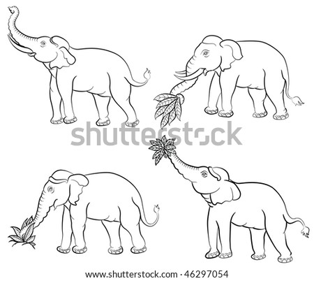 Forest Elephant Drawing Stock-vector-vector