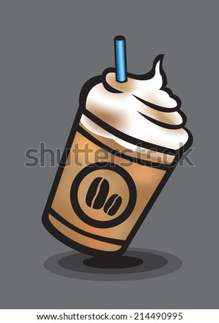 Vector illustration of an ice blended coffee isolated on grey background - stock vector