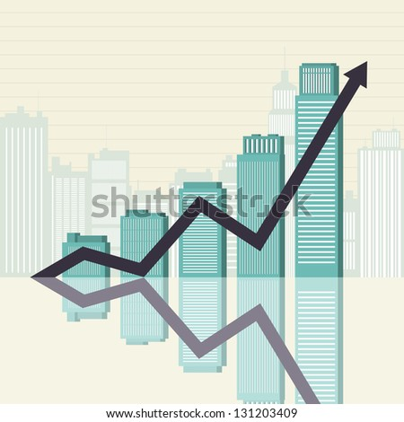 Vector illustration of an increasing graphic bar statistics of office buildings. - stock vector