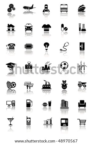 Vector illustration of an Industrial icon set - stock vector