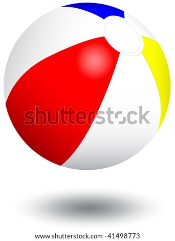 Vector illustration of an inflatable beach ball. All objects and details are isolated. Colors and white background color are easy to adjust/customize. Shadow effect is optional. - stock vector