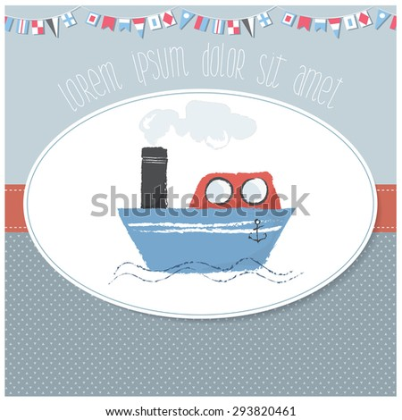 Vector illustration of an invitation/baby shower/birthday card template for children with cute  marine object on a pastel background - stock vector