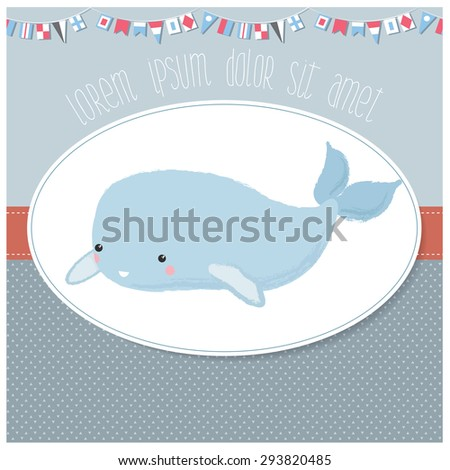 Vector illustration of an invitation/baby shower/birthday card template for children with cute sea creature on a pastel background - stock vector