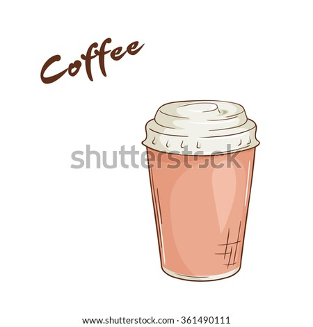 vector illustration of an isolated cartoon hand drawn fast food. Coffee in closed paper cup. Take it away. - stock vector