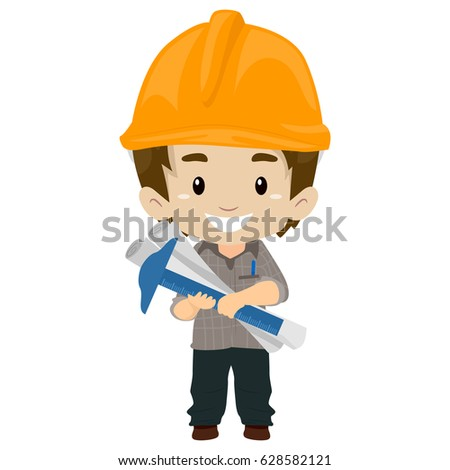Vector Illustration of an Kid Engineer holding tools