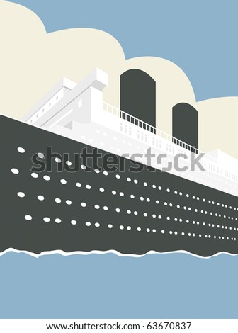 Vector illustration of an Ocean Liner Cruise Ship Boat at Sea - stock vector