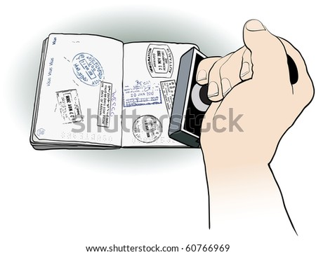 vector illustration of an officer stamping a passport - stock vector