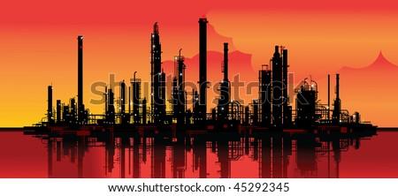 Vector illustration of an oil refinery - stock vector