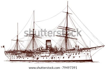 Vector illustration of an old battle ship - stock vector