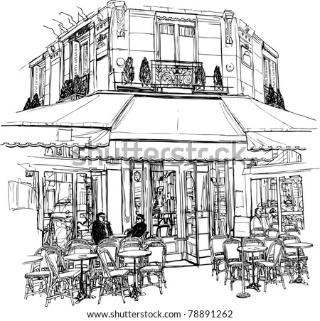 Vector illustration of an old cafe in Paris - stock vector