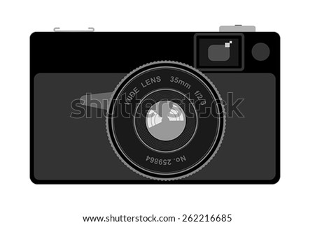 Vector illustration of an old camera - stock vector