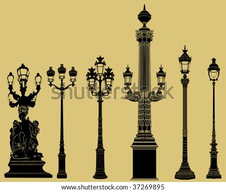 Vector illustration of an old fashioned lampost set - stock vector