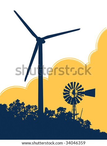 Vector illustration of an old fashioned windmill next to a modern wind turbine. - stock vector