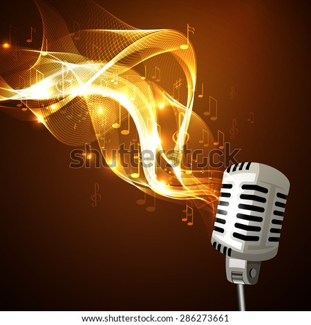 Vector illustration of an old microphone and musical notes. - stock vector
