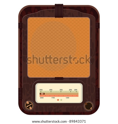 Vector illustration of an old radio  in a wooden case - stock vector