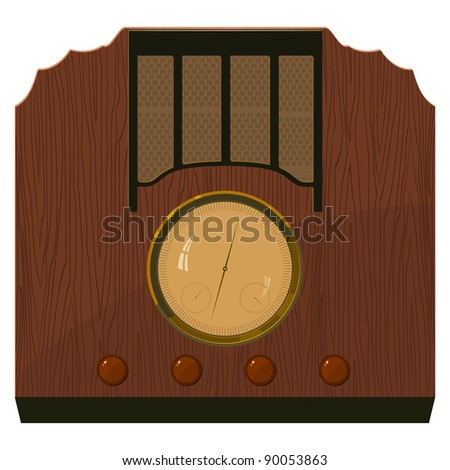Vector illustration of an old  radio in  a wooden case. EPS10 - stock vector