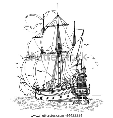 vector illustration of an old sailing boat - stock vector