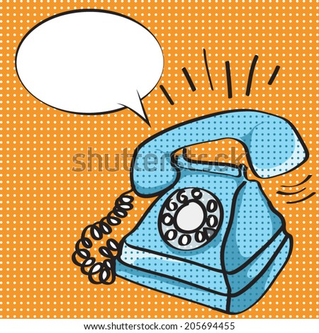 Vector illustration of an old style, retro phone ringing, in pop art style - stock vector