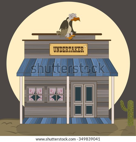 Vector illustration of an old west building - undertaker with a waiting vulture on the roof. - stock vector