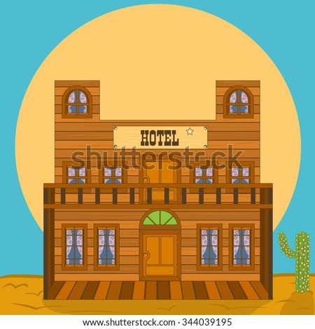 Vector illustration of an old western building - hotel - stock vector