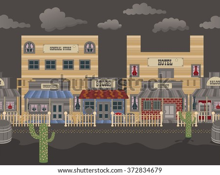 Vector illustration of an old western town background over night. - stock vector