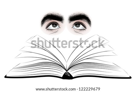 Vector illustration of an open book and two human eyes. - stock vector