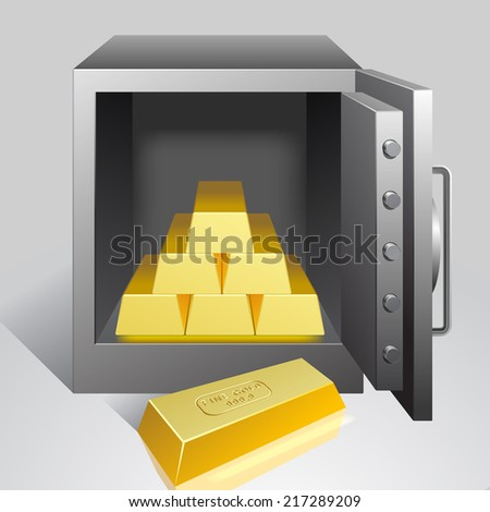 Vector illustration of an open safe with gold bullion - stock vector