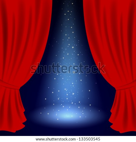 Vector Illustration of an Opened Stage - stock vector