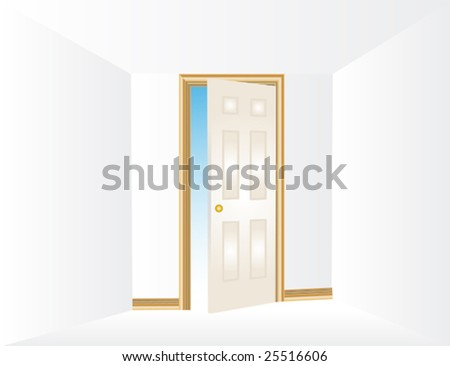 vector illustration of an opening door concept - stock vector