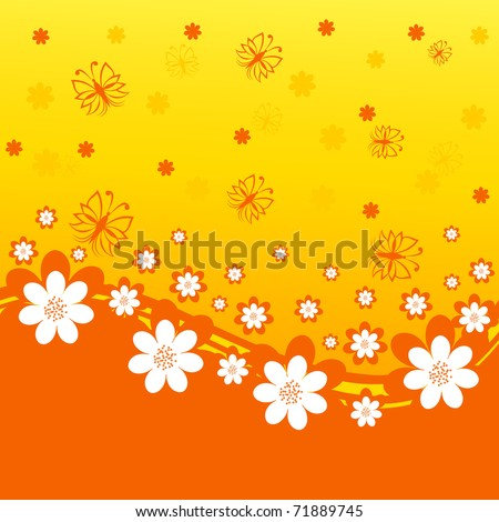vector illustration of an orange background with daisies and butterflies. - stock vector