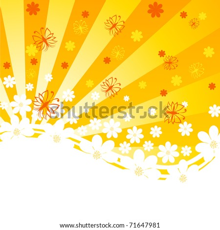 vector illustration of an orange background with daisies and butterflies on sunny background - stock vector