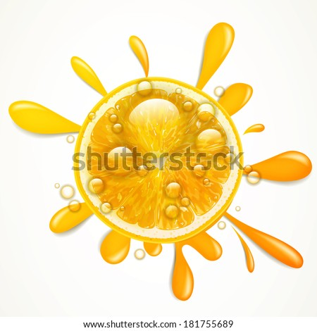 Vector Illustration of an Orange Fruit Splash - stock vector