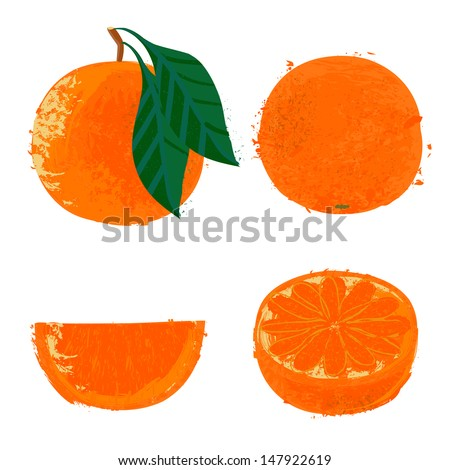Vector illustration of an orange. The drawing imitates dry brush watercolor technique. Set of four images for any package design like juice boxes, yogurt, dry fruit mix, jelly, candies, jam, fruit tea - stock vector