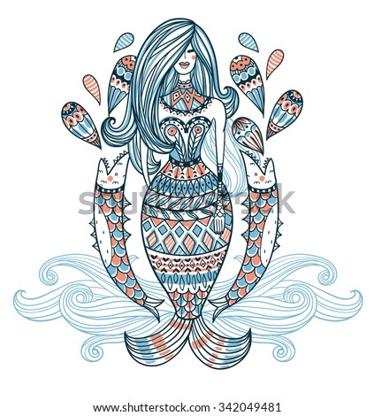 vector illustration of an ornamental mermaid with abstract fishes and drops - stock vector