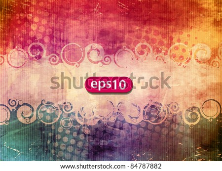 Vector illustration of an oval banner and swirls on a grungy background - stock vector