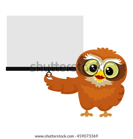 Vector Illustration of an Owl holding white Blank Projection Screen