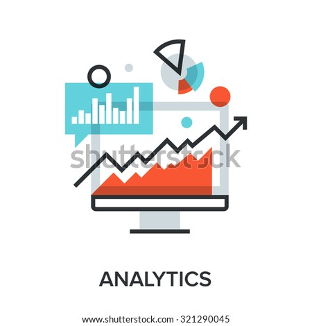 Vector illustration of analytics flat line design concept.