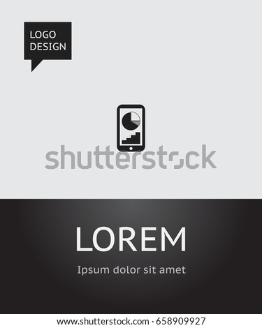 Vector Illustration Analytics Symbol On Mobile Stock Vector