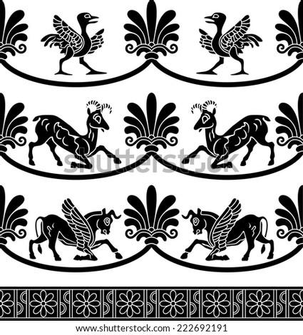 Vector illustration of ancient ornamental border - stock vector