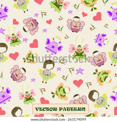Vector illustration of angel seamless. - stock vector