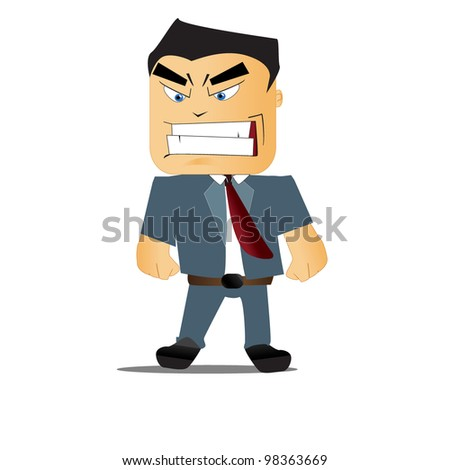 vector illustration of angry boss - stock vector