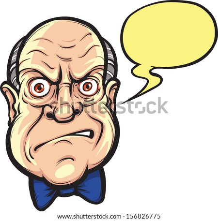Vector illustration of angry boss face with speech bubble. Easy-edit layered vector EPS10 file scalable to any size without quality loss. High resolution raster JPG file is included.  - stock vector