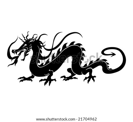 Vector  Illustration of angry chinese dragon in a tattoo/ tribal style - stock vector