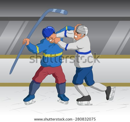 Vector illustration of angry hockey players fighting on the ice during an aggressive game. - stock vector